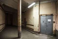 Empty dark industrial hall interior Royalty Free Stock Images
