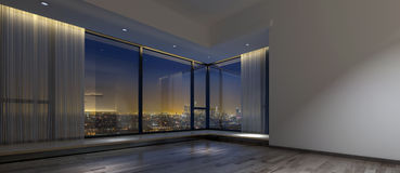 Empty dark office space with view of city Royalty Free Stock Images