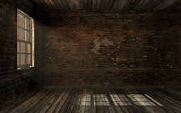 Empty dark old abandoned room with old cracked brick wall and old hardwood floor with volume light through window pane. Haunted room in dark atmosphere with Royalty Free Stock Photo