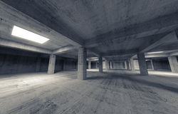 Empty dark parking concrete interior. 3d illustration. Empty dark abstract parking concrete interior. 3d illustration Royalty Free Stock Photos