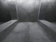 Empty dark room. Concrete architecture grunge background. 3d render illustration Stock Photography