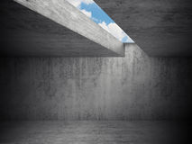 Empty dark room interior, concrete walls Stock Photo
