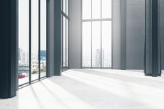 Empty dark room interior. With panoramic city view and sunlight. 3D Rendering Royalty Free Stock Photos