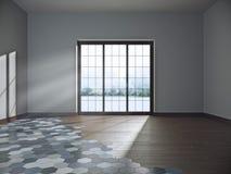 Empty dark room with large window. Stock Photos