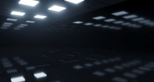 Empty Dark Room With Square Lights On Ceiling And Reflective Flo. Or. 3D Rendering Illustration stock illustration