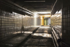 Empty dark tunnel at night Royalty Free Stock Images