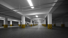 Empty dark underground parking interior Royalty Free Stock Images