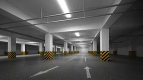 Empty dark underground parking abstract interior Stock Images