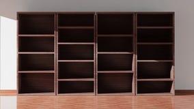 Empty dark wooden bookcase Stock Photo