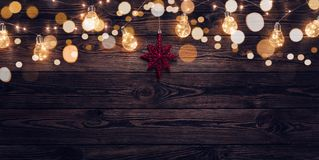 Empty dark wooden christmas background royalty free stock photography