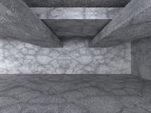 Empty Deark Concrete Room. Abstract Architecture Background. 3d Render Illustration Royalty Free Stock Images