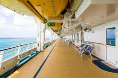 Empty Deck of Cruise Ship with Chairs Royalty Free Stock Image