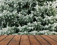 Free Empty Deck On The Background Of Fir Branches Royalty Free Stock Images - 103181139