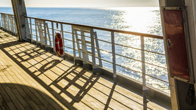 Empty deck on a passenger boat or cruise ship Royalty Free Stock Photos