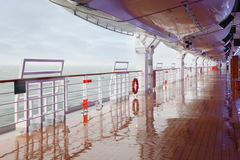 Empty deck and railing of cruise ship Stock Photography