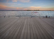 Empty deck on sunset Royalty Free Stock Photos