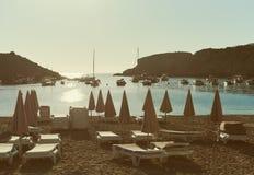 Cala Vadella beach in Ibiza Island. stock photography