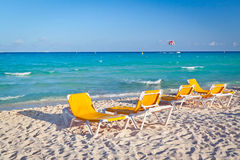 Empty deckchairs on the Caribbean beach. Of Mexico Stock Image