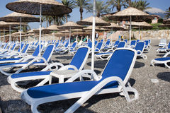 Empty deckchairs and umbrellas with a thatched roof on the beach Stock Image