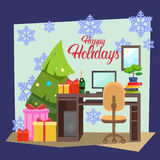 Empty Decorated Workplace Office Merry Christmas And Happy New Year Celebration Stock Images