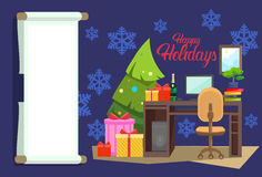 Empty Decorated Workplace Office Merry Christmas And Happy New Year Celebration Stock Photography