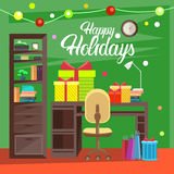 Empty Decorated Workplace Office Merry Christmas And Happy New Year Celebration Royalty Free Stock Photo