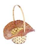 Empty decorative wicker basket Stock Photos