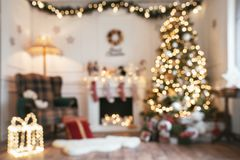 Empty defocused christmas room background royalty free stock images