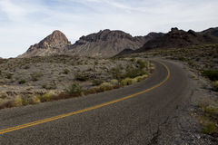 Empty desert road - Route 66. Isolated desert road - old route 66 through Arizona Royalty Free Stock Photo