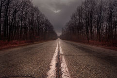 Empty deserted road in Valcea county Romania Stock Photography