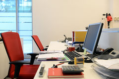 Empty desk office. With many accessories on it Royalty Free Stock Image