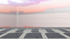Empty desk space platform with Blur sci-fi Background 3d illustration royalty free illustration