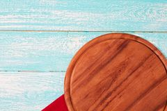 Empty desk,tablecloth on wooden table top view,copy space,food and drink concept.  stock photos