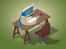 Empty desktop for businessman. Isometric vector illustration. A table with a computer, a cup of coffee, a table lamp. Empty desktop for businessman. Isometric Royalty Free Stock Photography