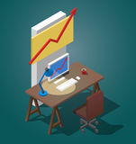 Empty desktop for businessman. Isometric vector illustration. A table with a computer, a cup of coffee, a table lamp. Empty desktop for businessman. Isometric Stock Photos