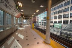 Empty Detroit People Mover Station In Downtown Detroit Stock Photo