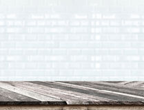 Empty Diagonal Wooden Table top at blurred white tiles ceramic w Stock Image
