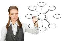 Empty diagram. Businesswoman with empty diagram isolated on white Stock Image