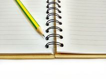 Memo book. Empty Diary book with pencil on white background Royalty Free Stock Photography