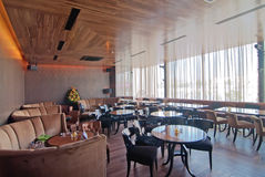 Empty dining restaurant. Modern empty restaurant with Natural Lighting Royalty Free Stock Images