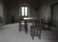 Empty dining room. In a old castle Stock Photos