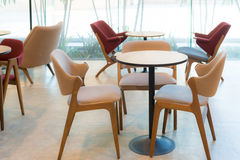 Empty dining table and chair in restaurant setting design Stock Image