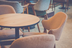 Empty dining table and chair in restaurant setting design Stock Images