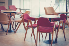 Empty dining table and chair in restaurant setting design Stock Photos