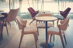 Empty dining table and chair in restaurant setting design Stock Photo