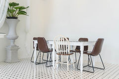Empty dining table interior decoration Stock Photos