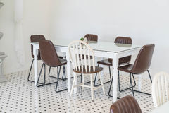 Empty dining table interior decoration Royalty Free Stock Photo