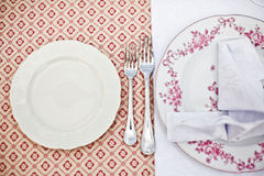 Empty dinner plate, drawing the fork set Royalty Free Stock Photography