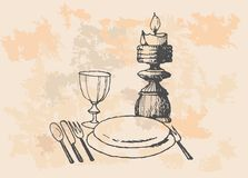 Empty dinner plate, drawing the knife and fork set Stock Photography