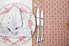 Empty dinner plate, drawing the knife set Royalty Free Stock Photo